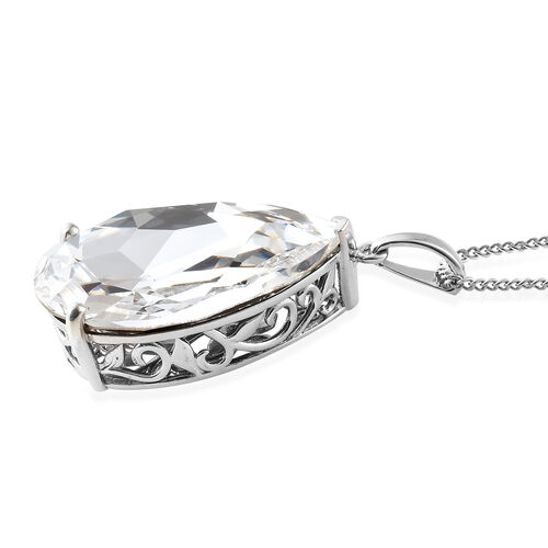 Red Carpet Collection - Crystal from Swarovski - Ice White Crystal (Pear 40x70mm) Pendant with Chain (Size 30) in Platinum Overlay Sterling Silver