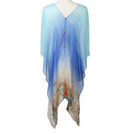 Poncho Style Summer Beach  Covering in Light Blue and Beige (One Size; Length 76 cm)