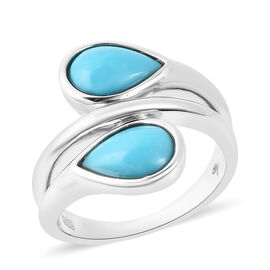 LucyQ 2.02 Ct AAA Arizona Sleeping Beauty Turquoise Bypass Ring in Rhodium Plated Sterling Silver