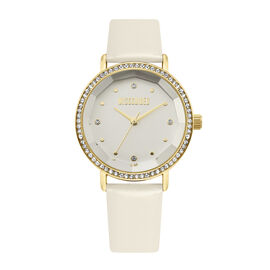 MISSGUIDED Watch with Gold Case, Stone Set Bezel, Round White Dial and White Strap