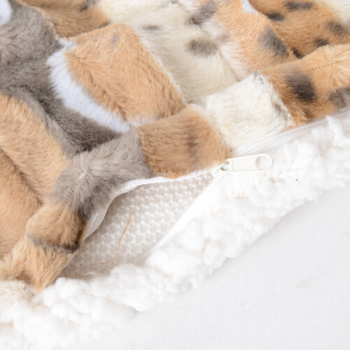Deluxe Collection - High Quality Printed and Brushed Faux Fur Sherpa Cushion Covers - 2 pcs (45.72x45.72cm)