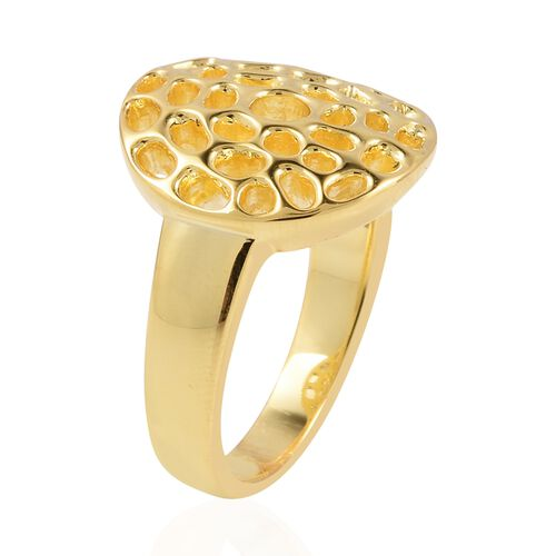 WEBEX- Rachel Galley Yellow Gold Overlay Sterling Silver Enkai Sun Small disc Ring, Silver wt 5.73 Gms.