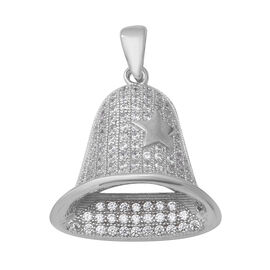 ELANZA Simulated Diamond Bell Pendant in Rhodium Plated Sterling Silver