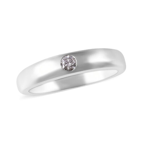 RHAPSODY 950 Platinum IGI Certified Diamond (Rnd) (VS/E-F) Band Ring 0.10 Ct, Platinum wt 7.20 Gms