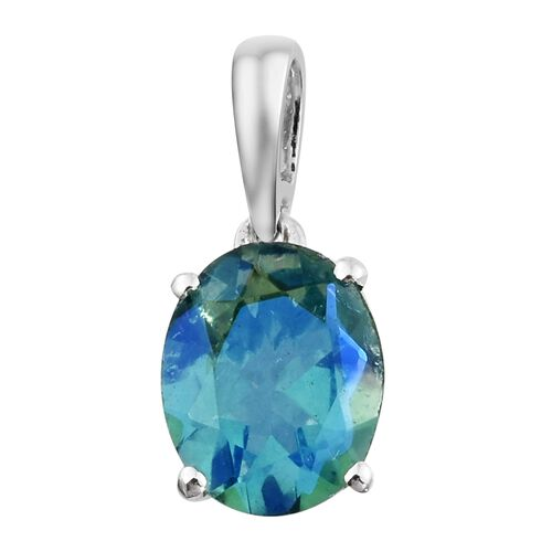 One Time Deal - Peacock Quartz (Ovl) Solitaire Pendant in Sterling Silver 2.750 Ct.