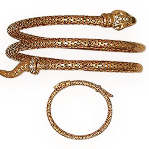 Italian Made Snake Bracelet (Size 7.5) in Rose Gold Overlay Sterling Silver, Silver wt 26.31 Gms.