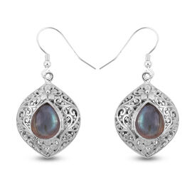 Royal Bali Collection Labradorite Hook Earrings in Sterling Silver 6.00 Ct, Silver wt 7.80 Gms