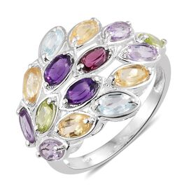 Rose De France Amethyst (Ovl), Rhodolite Garnet and Multi Gemstone Ring in Sterling Silver 3.750 Ct.