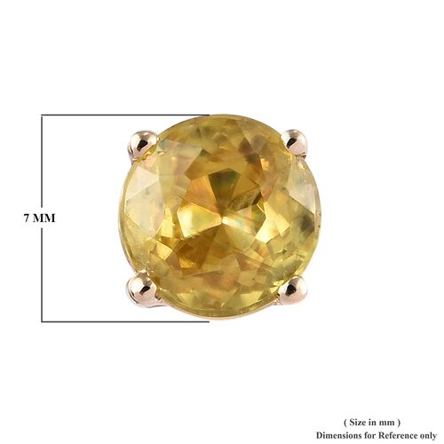 Collectors Edition- 9K Yellow Gold  Sava Sphene (Rnd) Stud Earrings (with Push Back) 2.000 Ct.