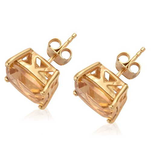 Citrine Stud Earrings in Gold Plated Silver (with Push Back) 8 Carat
