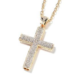 White Austrian Crystal Cross Pendant with Chain (Size 28 with 3 inch Extender) in Yellow Gold Tone