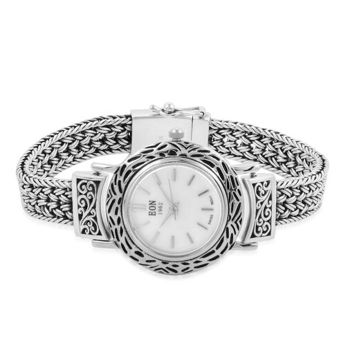 Royal Bali Collection EON 1962 Sterling Silver Bracelet Watch (Size 8) with Tulang Naga Chain, Silve