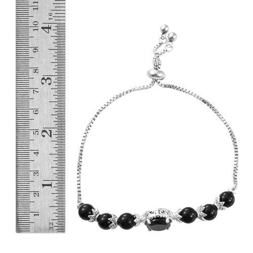 Designer Inspired- Boi Ploi Black Spinel (Ovl) Adjustable Bracelet (Size 6.5 to 8.5) in ION Plated Platinum Bond 13.750 Ct.