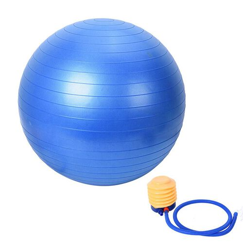 Exercise Yoga Balance Ball - Blue puncture proof with foot pump