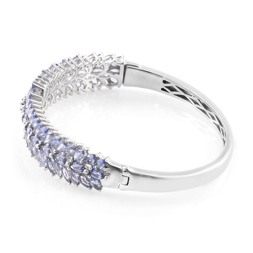 Tanzanite (Rnd) Bangle (Size 7.5) in Platinum Overlay Sterling Silver   10.500 Ct, Silver wt 24.34 Gms.