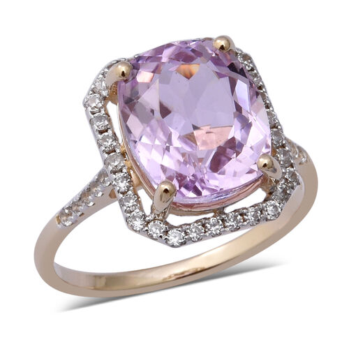 7.79 Ct Kunzite and Natural Cambodian Zircon Halo Ring in 9K Yellow Gold 2.30 Grams