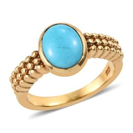1.50 Ct Arizona Sleeping Beauty Turquoise Solitaire Ring in 14K Gold Plated Sterling Silver