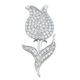 J Francis - Platinum Overlay Sterling Silver (Rnd) Rose Flower Brooch Made with SWAROVSKI ZIRCONIA, Silver wt 6.09 Gms. Number of Swarovski 103.