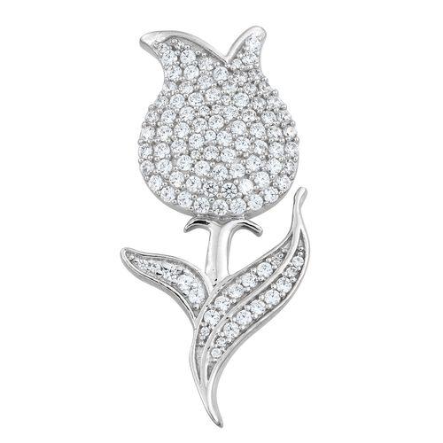 J Francis - Platinum Overlay Sterling Silver (Rnd) Rose Flower Brooch Made with SWAROVSKI ZIRCONIA, Silver wt 6.09 Gms. Number of Swarovski 103.