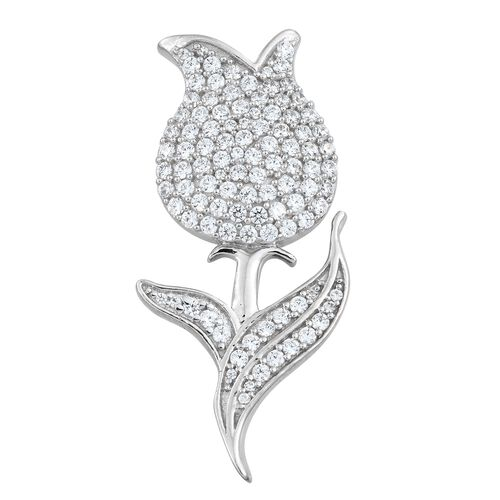 J Francis - Platinum Overlay Sterling Silver (Rnd) Rose Flower Brooch Made with SWAROVSKI ZIRCONIA,
