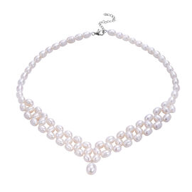 White Freshwater Pearl Necklace (Size 18) in Sterling Silver