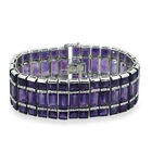 AAA Lusaka Amethyst (Bgt), White Sapphire Bracelet (Size 7.5) in Rhodium Plated Sterling Silver 158.
