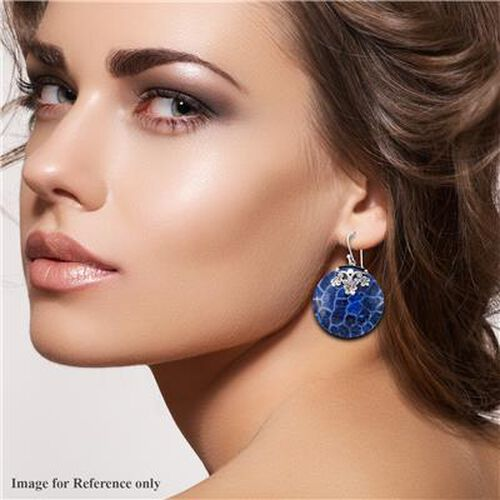 Royal Bali Collection - Blue Coral Hook Earrings in Sterling Silver