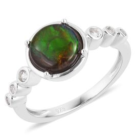 AA Canadian Ammolite (Rnd 8mm), Natural White Cambodian Zircon Ring in Rhodium Plated Sterling Silver 1.700 Ct.