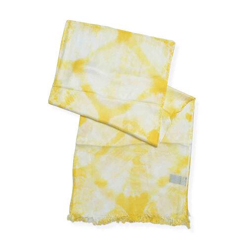 Natural Turmeric Dyed-  Diamond Weave Pattern Shawl (Size 180x70 Cm)