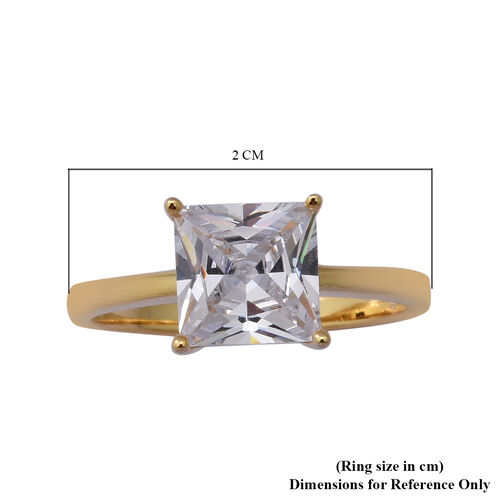 ELANZA AAA Simulated Diamond Solitaire Ring in Yellow Gold Overlay Sterling Silver