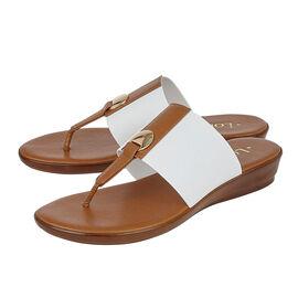 Lotus Arna Slip-On Toe-Post Sandals in White Colour