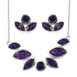 Amethyst (Mrq) Necklace with Chain (Size 20) and Stud Earrings (with Push Back) in Platinum Overlay