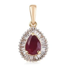 9K Yellow Gold AA African Ruby (Pear), Diamond Pendant 1.250 Ct.