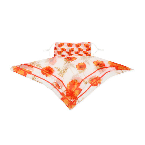 New Arrival- 2 in 1 Floral Pattern 100% Mulberry Silk Scarf and Protective Face Covering in Cream and Orange Colour (Size 40x40 Cm)