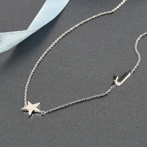 Personalise Single Alphabet + Star, Name Necklace in Silver, Size 18+2 Inch
