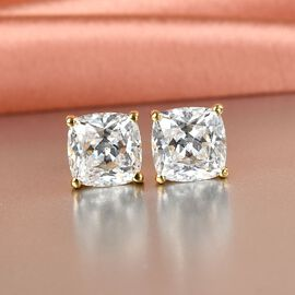 J Francis - 14K Gold Overlay Sterling Silver Stud Earrings (with Push Back) Made with SWAROVSKI ZIRCONIA 9.40 Ct.