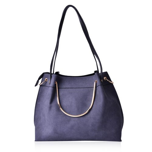 Classic Grey Gold Handle Tote Bag with Shoulder Strap (Size 33x28.5x11 Cm)