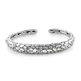 Royal Bali 8 Inch Handmade Pebble Cuff Bangle in 18K Gold and Sterling Silver 35 Grams