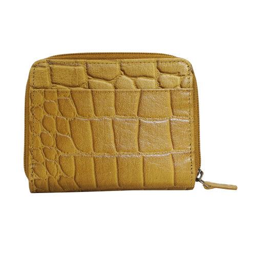 Assots London Croc Embossed Leather Zip Purse (Size 12x10cm) - Mustard
