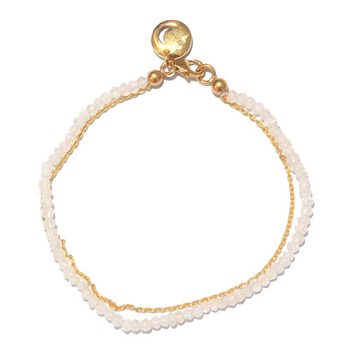 Rainbow Moonstone (Rnd), Diamond Bracelet (Size 7.5) with Moon Charm in Yellow Gold Overlay Sterling Silver 7.210 Ct.