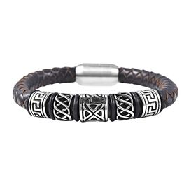 Genuine Braided Leather Black Oxidised Bracelet (Size 7.5)