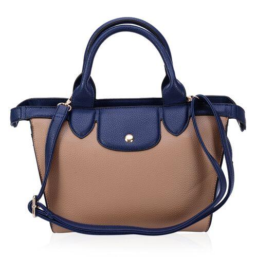 Blue Colour Top Handle Bag with Adjustable and Removable Shoulder Strap (Size 33x23x11 Cm)