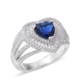 ELANZA Simulated Blue Sapphire (Rnd), Simulated Diamond Heart Ring in Rhodium Overlay Sterling Silver, Silver wt 5.89 Gms.