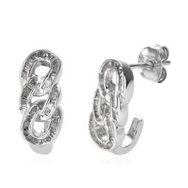 0.33 Ct Diamond Curb Link Hoop Earrings with Push Back in Platinum Plated Silver