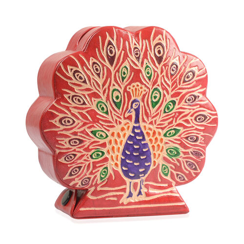 100% Genuine Leather Hand Painted Peacock Design Money Bank (Size 12.5X4X2.5 Cm)