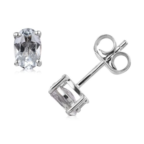 Set of 7 - Blue Topaz (Ovl), Multi Gemstone Stud Earrings (with Push Back) in Platinum Overlay Sterling Silver 6.75 Ct, Silver wt 5.25 Gms