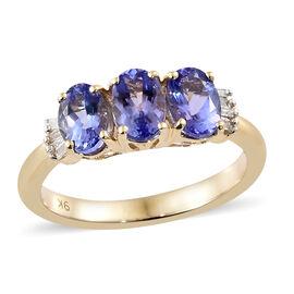 9K Yellow Gold AA Tanzanite (Ovl), Diamond Ring 1.550 Ct.