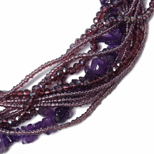Amethyst, Multi Colour Beads and White Austrian Crystal Necklace (Size 18)