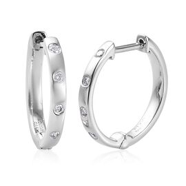 RHAPSODY 950 Platinum IGI Certified Diamond (VS/E-F) Hoop Earrings (with Clasp Lock) 0.15 Ct, Platin