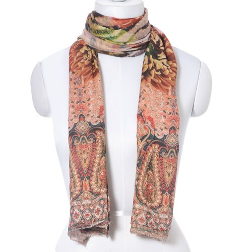 Digital Print Paisley and Floral Pattern Multi Colour Scarf (Size 180x70 Cm)